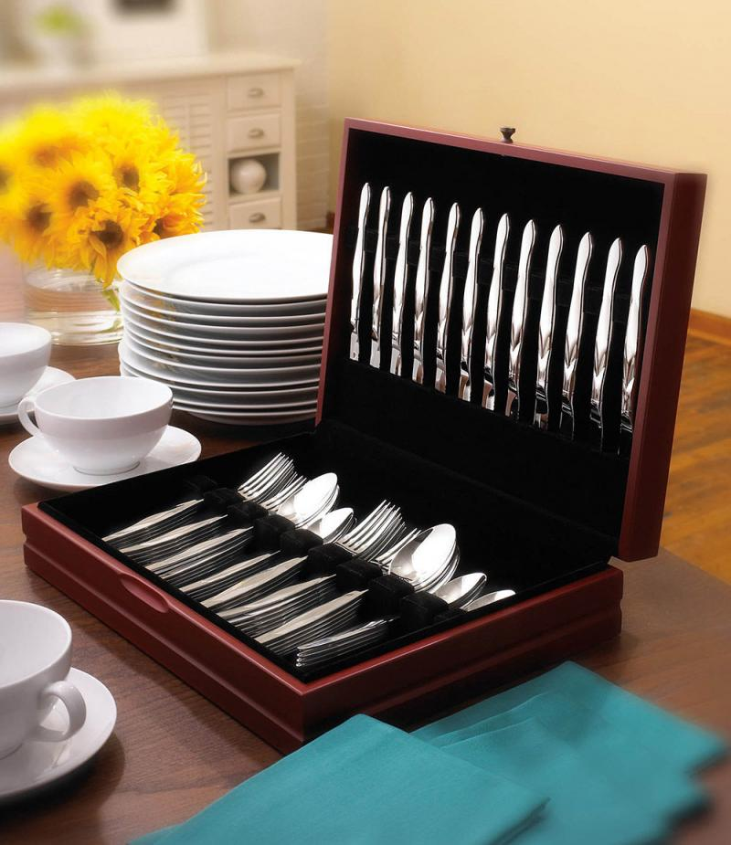 60-Pc. Stainless Flatware Set in FREE Chest | 12 Place Settings