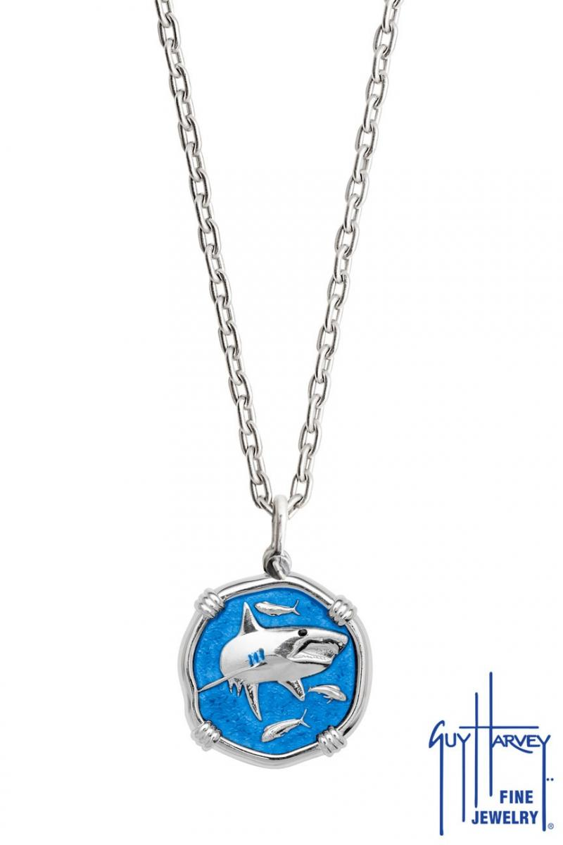 SHARK 35MM GULF STREAM BLUE ENAMEL NECKLACE