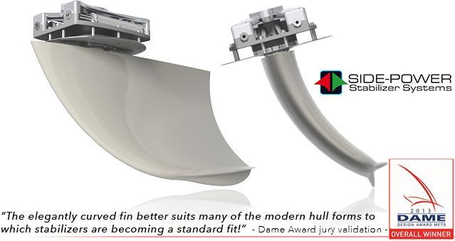 Side-Power Boat Stabilizer Vector Fins