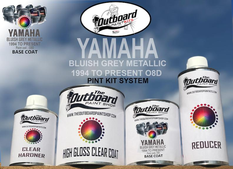 YAMAHA OUTBOARD 1994-PRESENT PAINT KIT 1 Pint Refinishing Kit. YAMAHA METALLIC BLUISH GREY 08D 1994 – PRESENT All MODELS