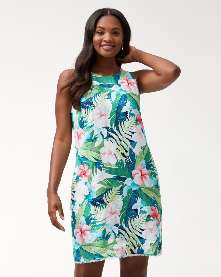 Hibiscus Hues Linen Shift Dress