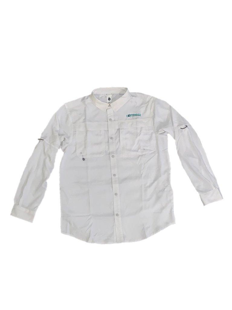 Contender White Long Sleeve Button Down Fishing T Shirt
