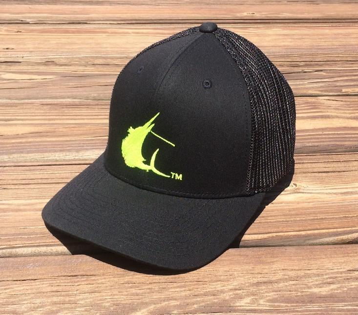 Contender High Vis Sailfish Icon Black Flexfit Hat
