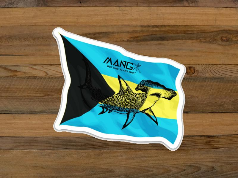 "Bahamas Flag Sticker 4.1"" x 3.7"""