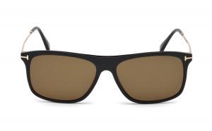 Tom Ford Max Rectangle Sunglasses | Shiny Black/Brown
