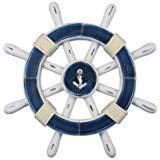 Handcrafted Nautical Decor Rustic Dark Blue and White Decorative Ship Wheel