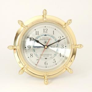 Lacquered Brass Ship's Wheel Tide & Time Quartz Clock With Beveled Glass