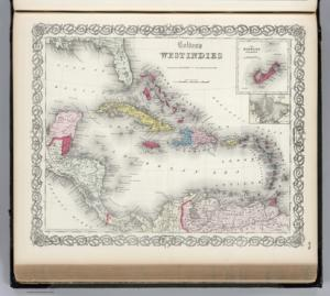 Caribbean Maps | 1865 English map by Colton