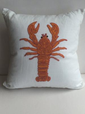 Coastal Nautical Lobster Decorative Pillow Cover White &