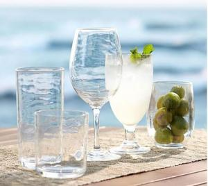 Clear Acrylic Glassware Outdoor Drinkware Set of 6 Double