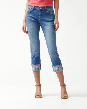Tema Indigo Trellis Embroidered Cropped Jeans