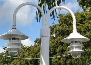 7',8' or 9' ALUMINUM ROUND POST WITH DOUBLE PAGODA DOCK LIGHT – Broward Casting