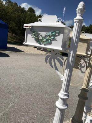 PALM TREE w/Butterfly Inserts HIGH QUALITY CAST ALUMINUM MAILBOX – Broward Casting