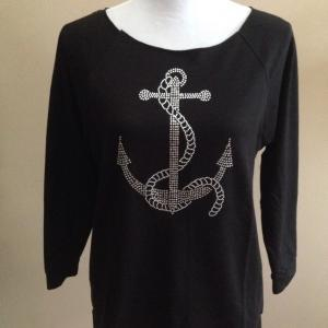 Silver Anchor French Terry Sweatshirt  - Black