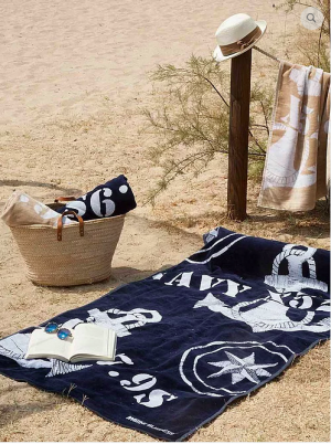 BEACH TOWEL WITH PILLOW - BLUE NAVY, FREE STYLE