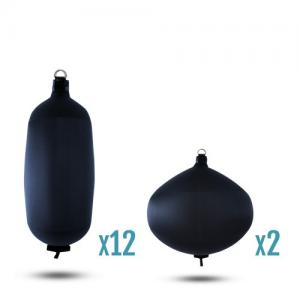 Boat fenders: blue kits for boats 62 to 98 feet long