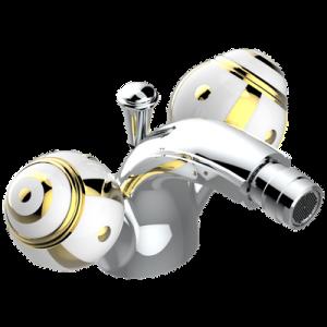 Single hole bidet faucet with drain | A7A-3202/US — Ithaque gold decor — THG