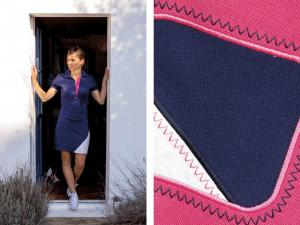 Short sleeve polo dress navy and pink